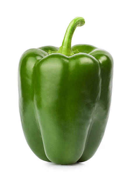 green pepper isolated white stock photo