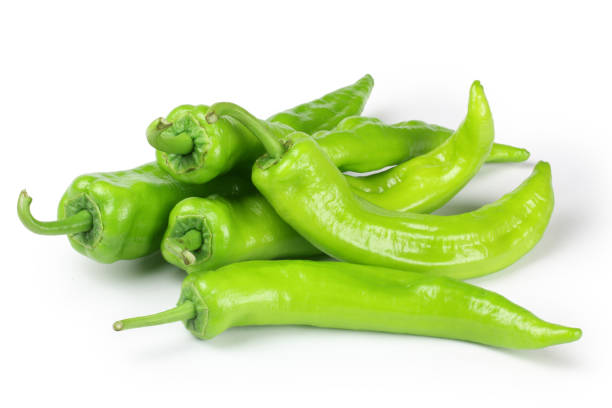 Green pepper on a white background stock photo