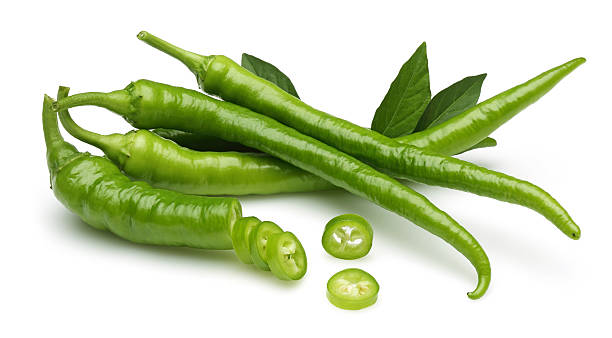 green pepper - green chilli pepper stock photos and pictures