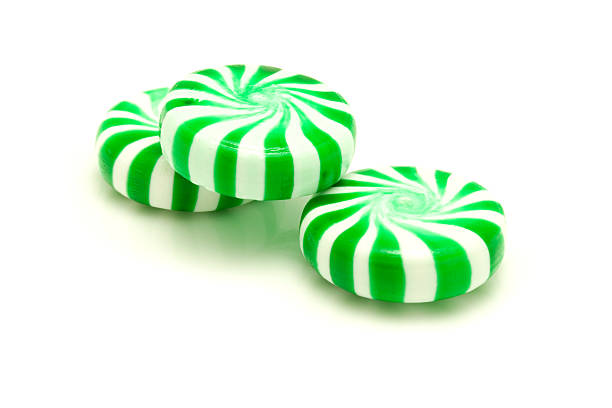 Green peppermints. stock photo