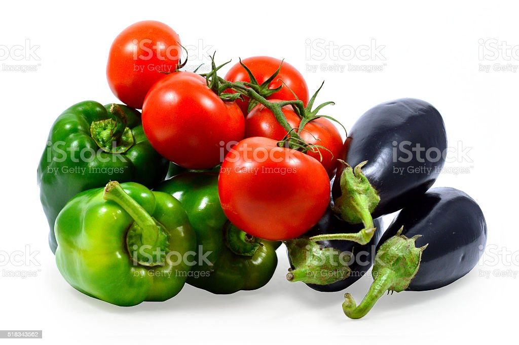 green peppers, eggplant and tomatoes stock photo