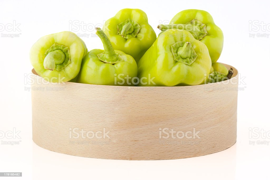 Green peppers in box royalty-free stock photo
