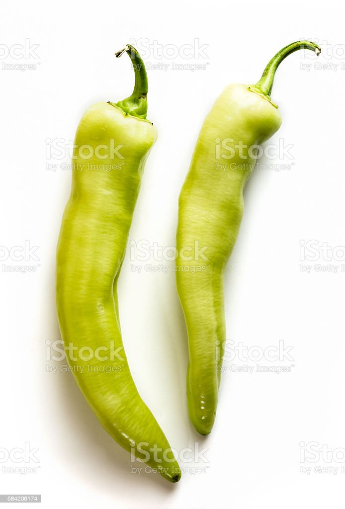 Green Peppers on White Background stock photo