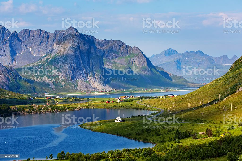 Green picturesque landscape of Norway stock photo