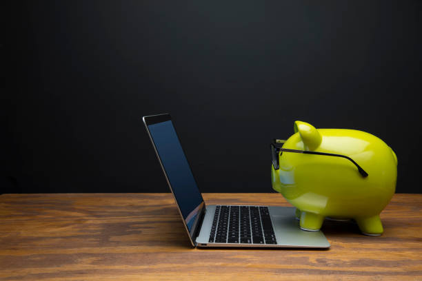 Green Piggy Bank Side View Wearing Black Glasses Typing on Laptop with Black Chalkboard Background stock photo