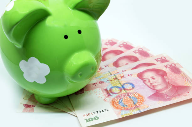 green piggy bank with china currency rmb - disbursement stock pictures, royalty-free photos & images