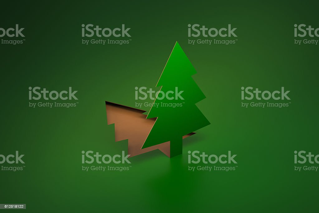 Green Pine Tree pop up from paper cut 3d rendering stock photo