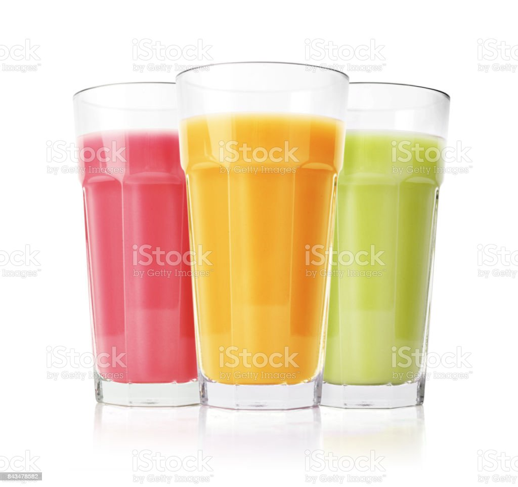 Green, pink and yellow smoothies stock photo