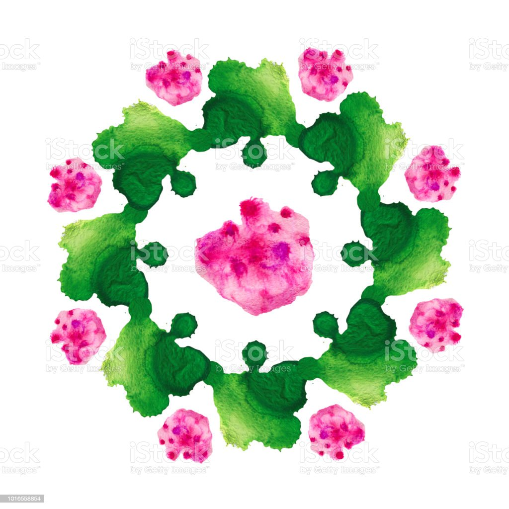 Green pink flower stock photo
