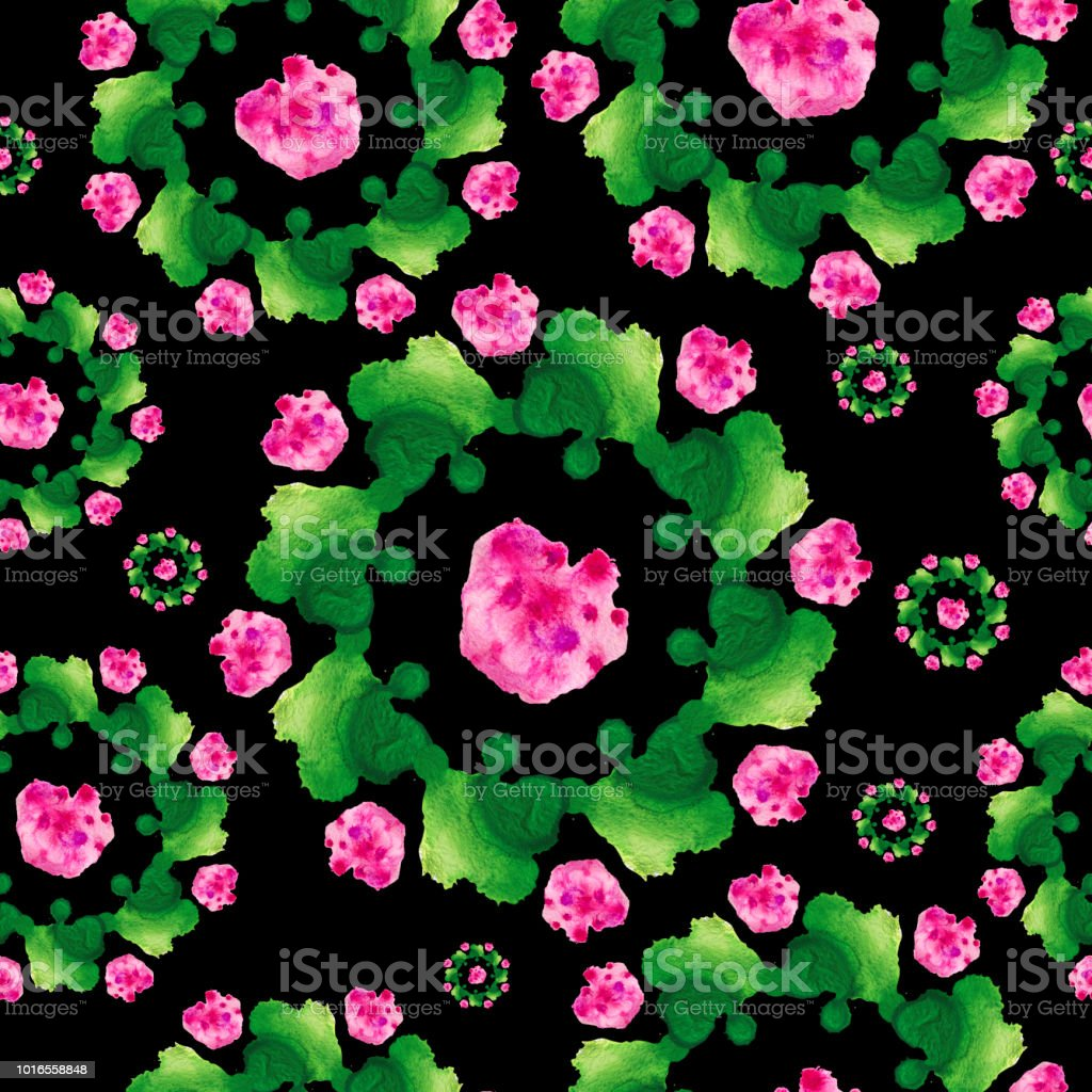 Green pink watercolor pattern stock photo