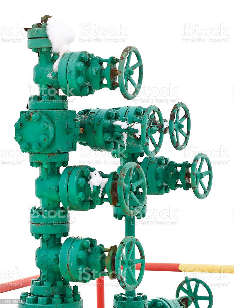 Green pipe system with valves royalty-free stock photo