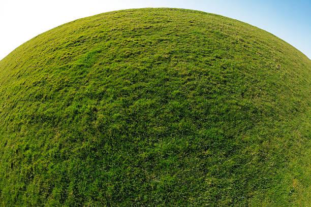 vert planète terre. sphère de l'herbe en arrière-plan - convexe photos et images de collection