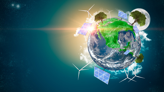Green planet. Renewable energy and efficency concept. Environmental biodiversity. Render 3D. Some Elements Of This Image Provided By NASA