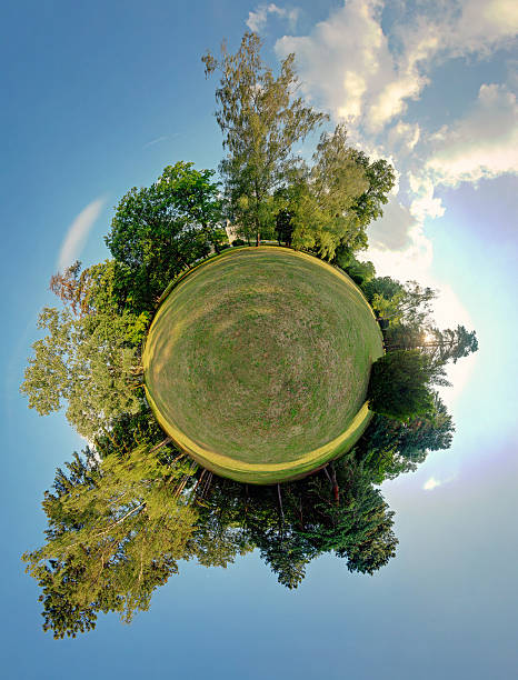 Green planet - spherical view, Globe and Sphere Green planet - spherical view, Globe and Sphere fish eye lens stock pictures, royalty-free photos & images