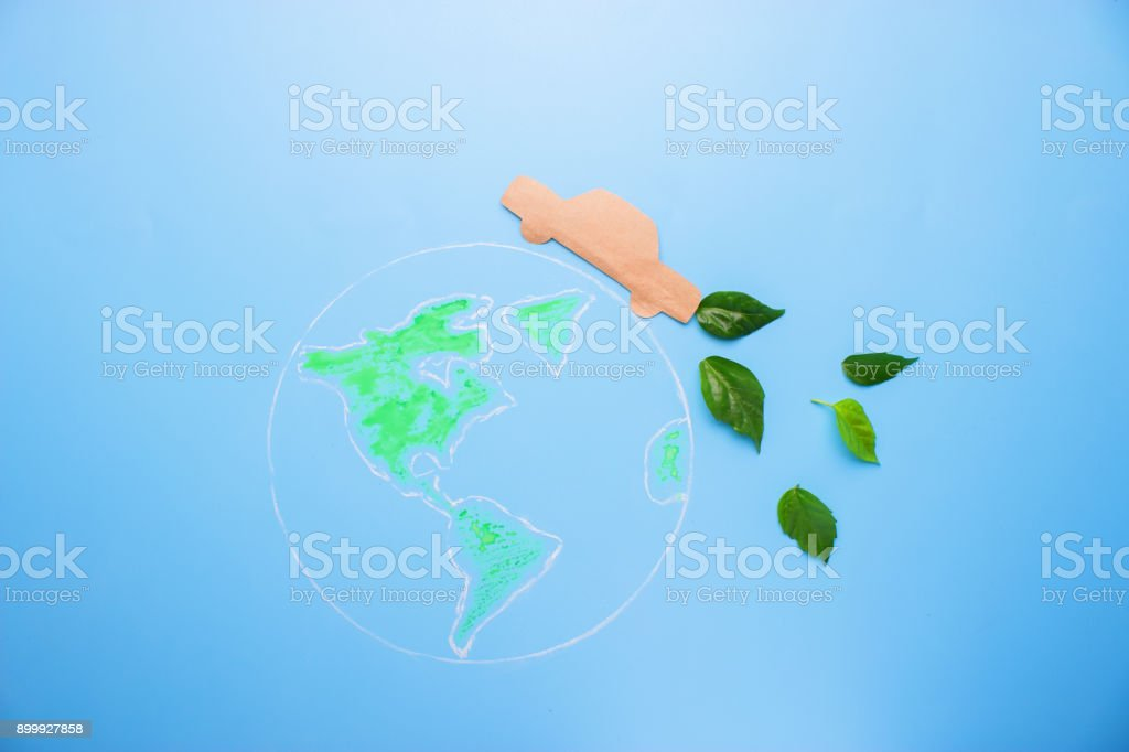 Green planet with car stock photo