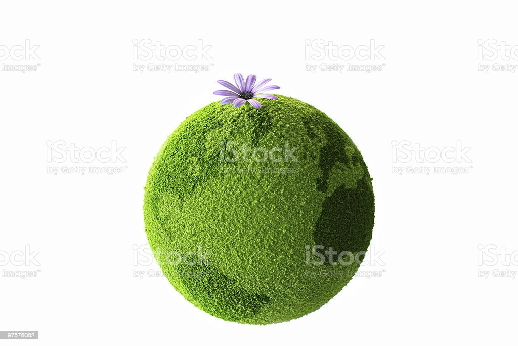 Green planet with flower royalty-free stock photo