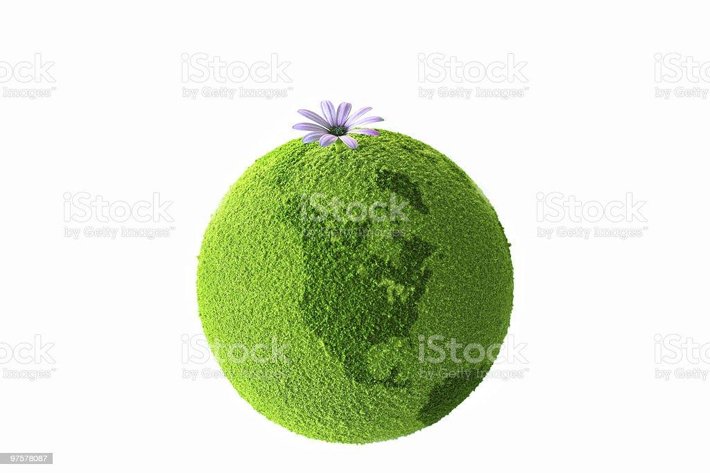 Planète verte avec fleur photo libre de droits