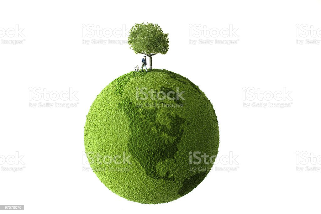 Green planet with man and dog royalty-free stock photo