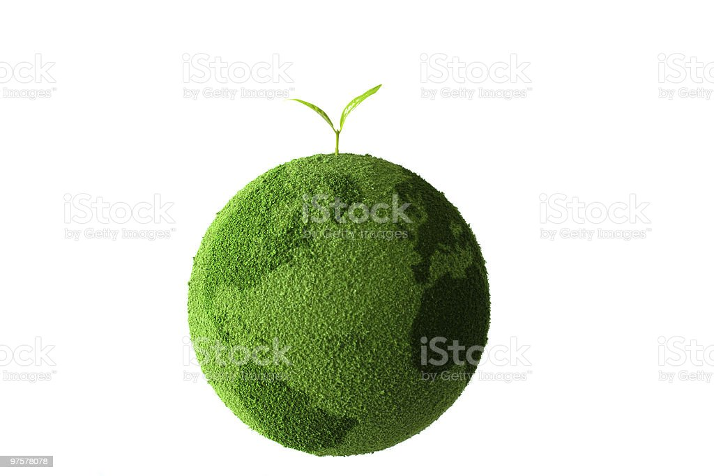 Green planet with plant royalty-free stock photo