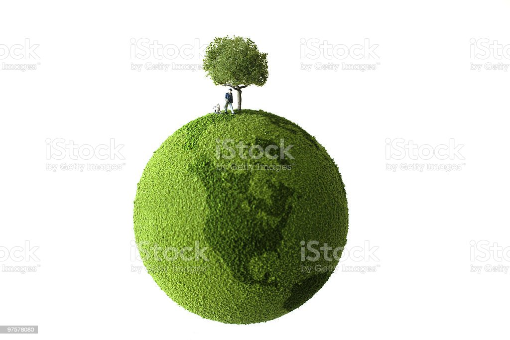 Green planet with tree and human royalty-free stock photo