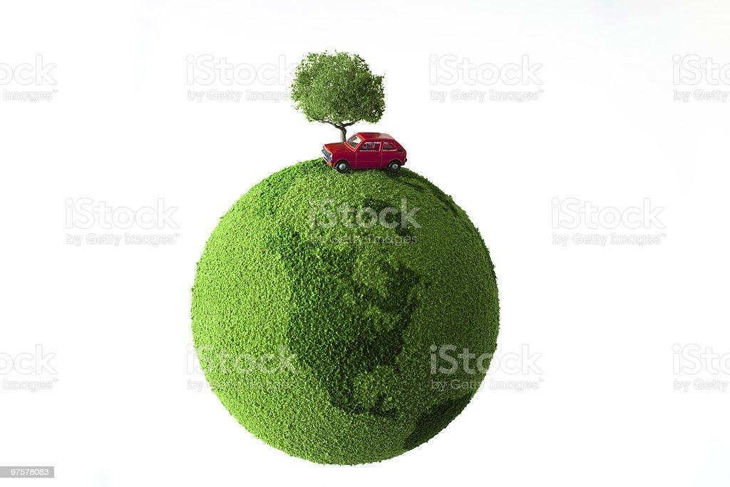 Vert planète rouge avec arbre et voiture photo libre de droits