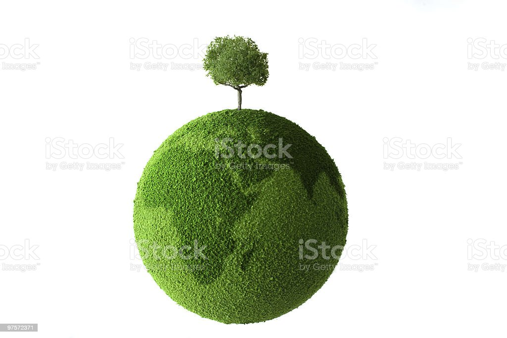 Green planet with tree royalty-free stock photo