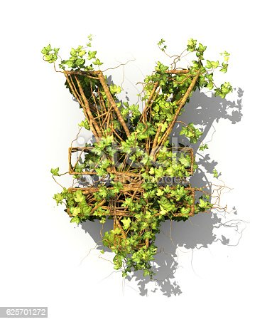 istock Green plant in form of money sign. 625701272