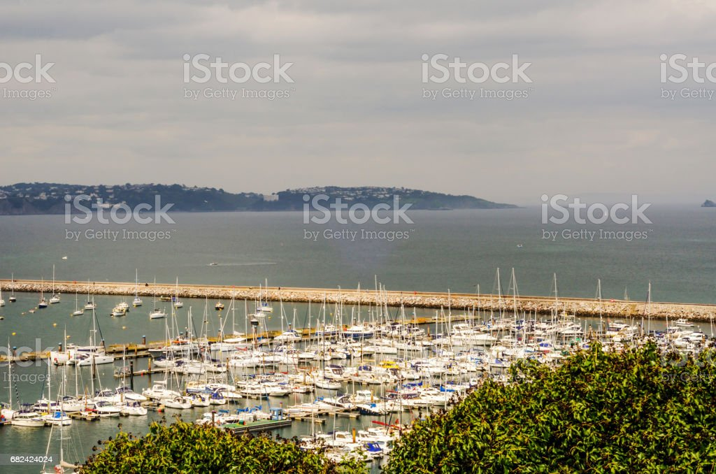 green plants and view on the boats and yachts anchored in a harbor, top view of the bay and ocean photo libre de droits
