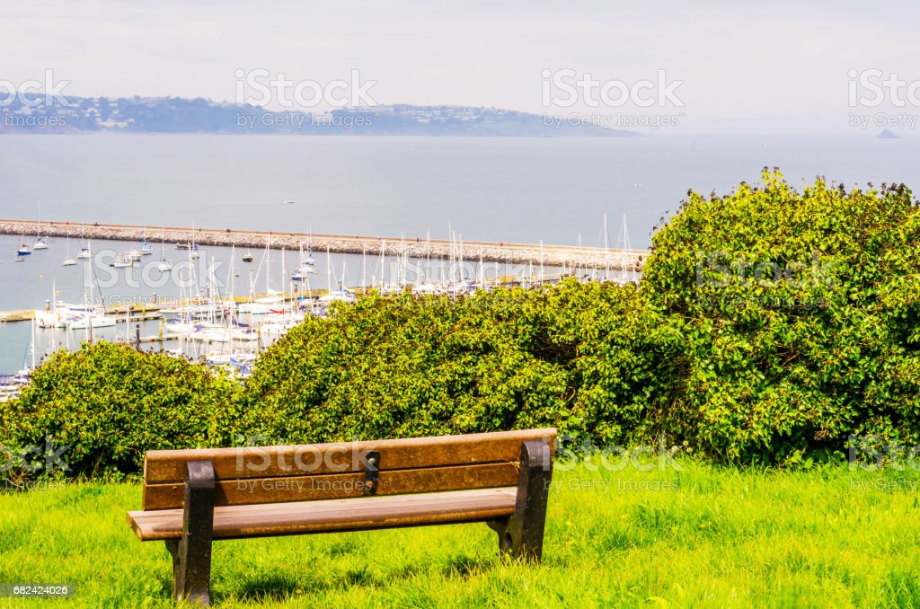 green plants and view on the boats and yachts anchored in a harbor, top view of the bay and ocean royalty-free stock photo