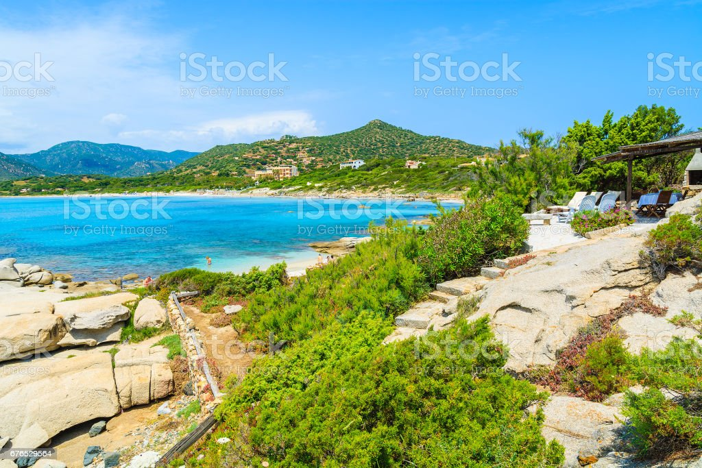 Green plants on coast of Sardinia island and view of Campulongu beach, Italy stock photo