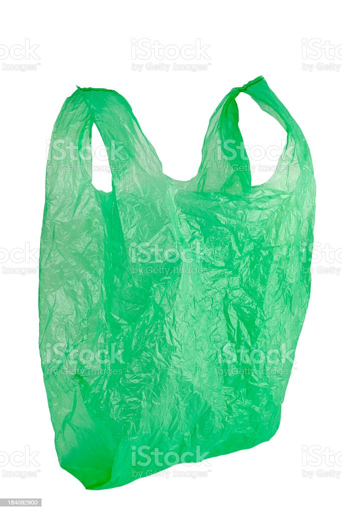 green plastic bag stock photo
