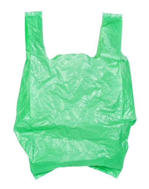 Grüne Plastiktüten isoliert auf weißem Hintergrund, Clipping-Pfad – Foto