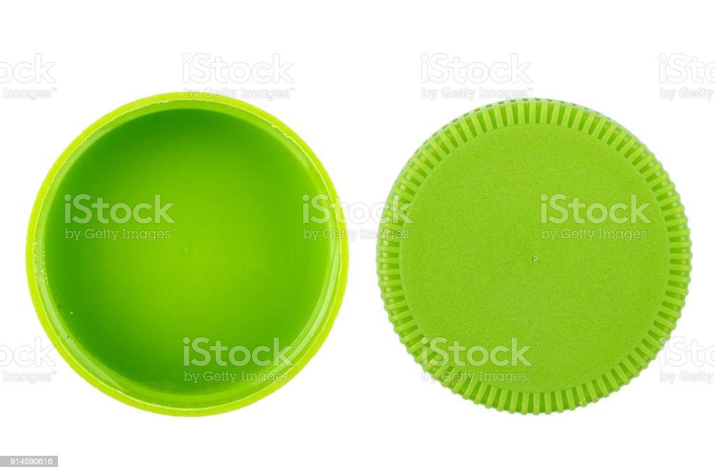 tapa de la botella de plástico verde sobre fondo blanco foto de stock libre  de derechos 39952b5468da