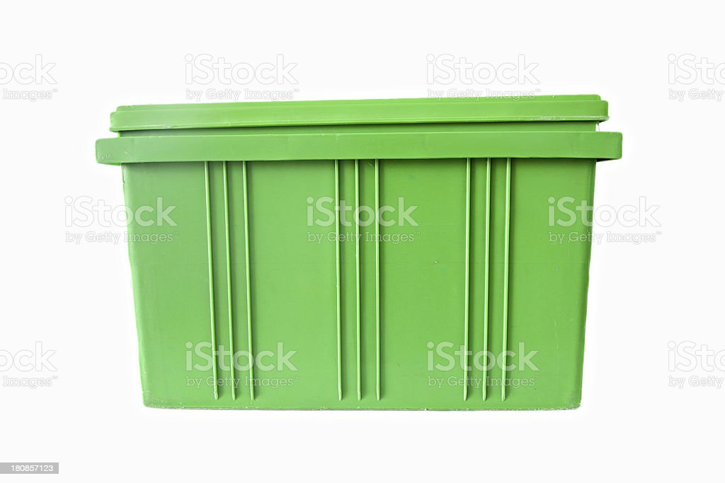Green Plastic box Packaging of finished goods. stock photo