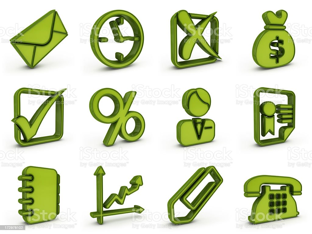 green plastic business icons royalty-free stock photo