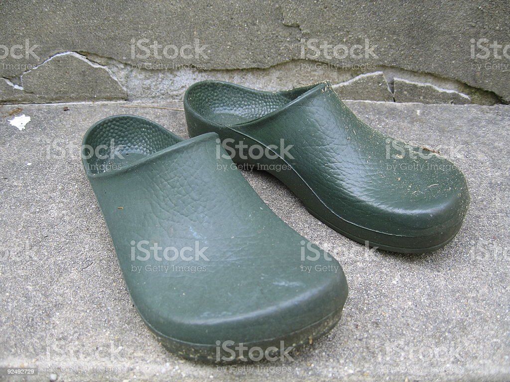 Green Plastic Garden Clogs royalty-free stock photo
