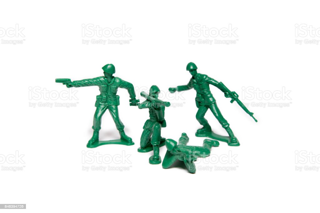 Green Plastic Toy Soldiers stock photo