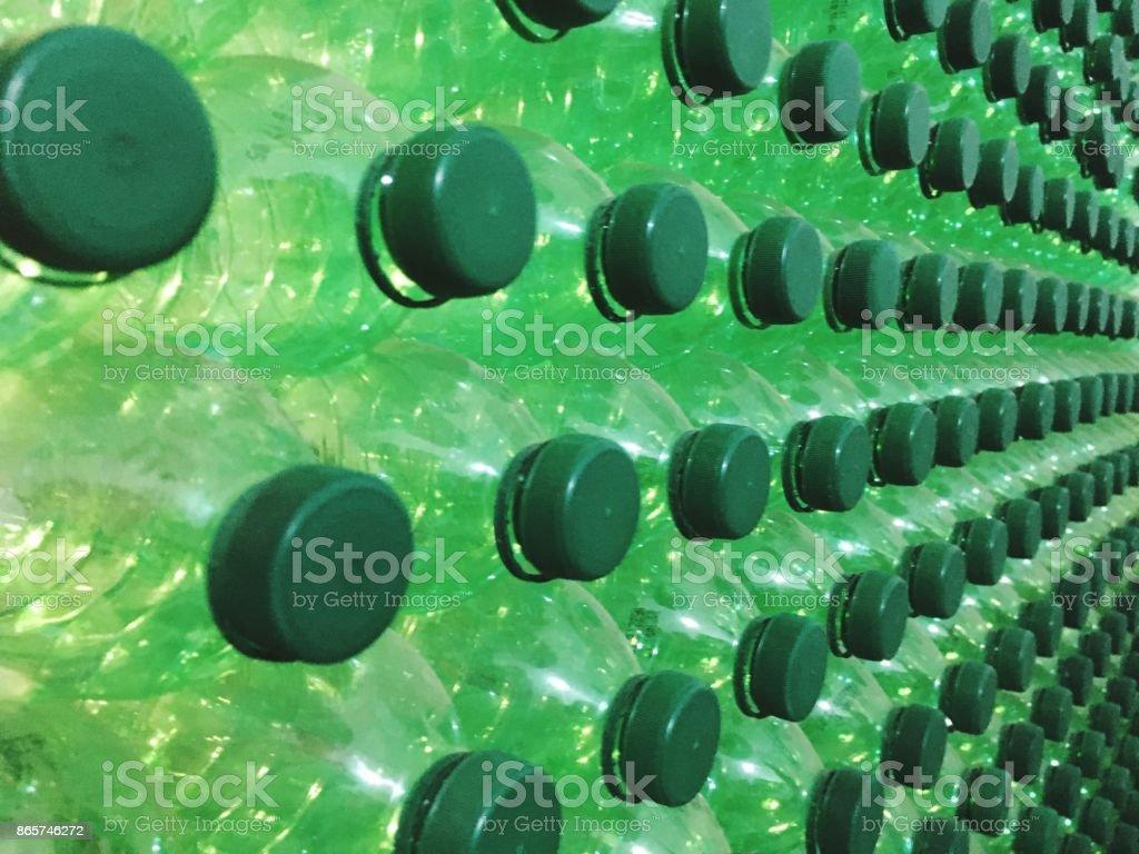 green platic botles stock photo