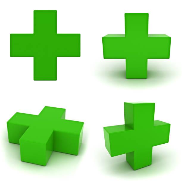 grünes pluszeichen isoliert auf weißem hintergrund - plus stock-fotos und bilder