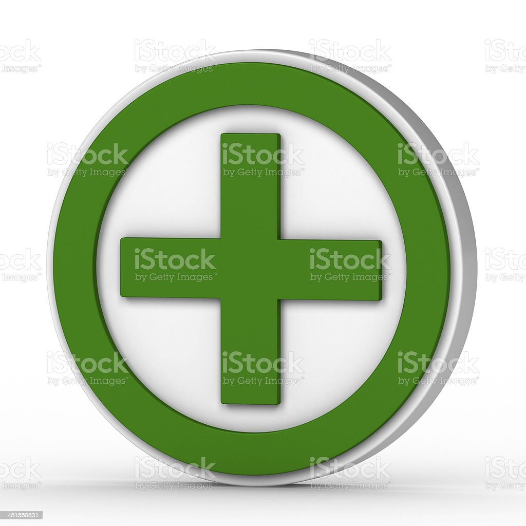 Green Plus Sign On A White Background Stock Photo More Pictures Of
