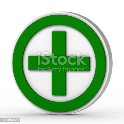 istock green plus sign on a white background 481550831