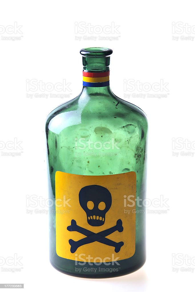 Green poison bottle stock photo