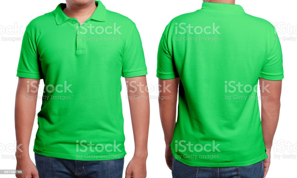 Green Polo Shirt Design Template stock photo