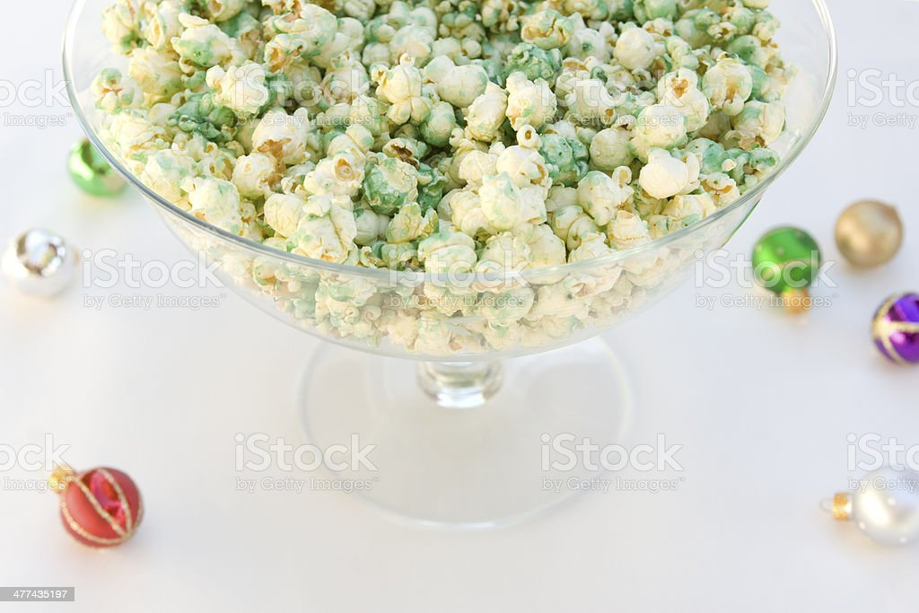 Green popcorn with ornaments stock photo