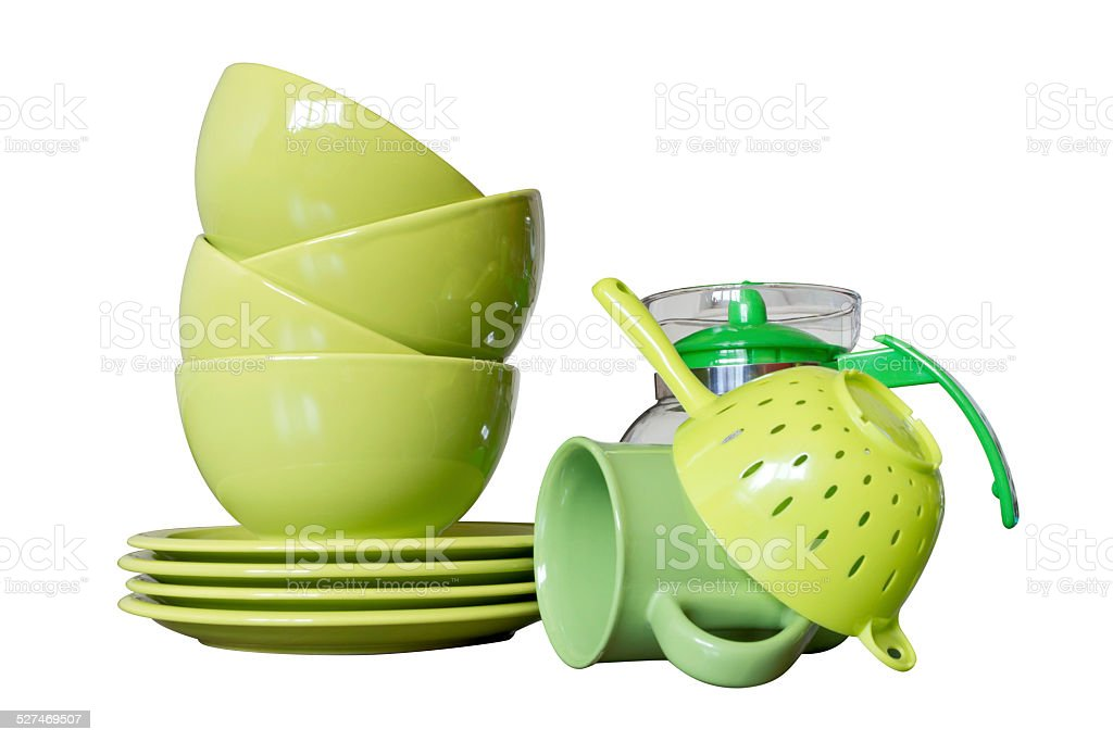 green porcelain dishes isolated on white royalty-free stock photo