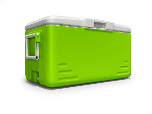Green portable refrigerator for drinks isolated 3D render on white background with shadow Green portable refrigerator for drinks isolated 3D render on white background with shadow cooler container stock pictures, royalty-free photos & images