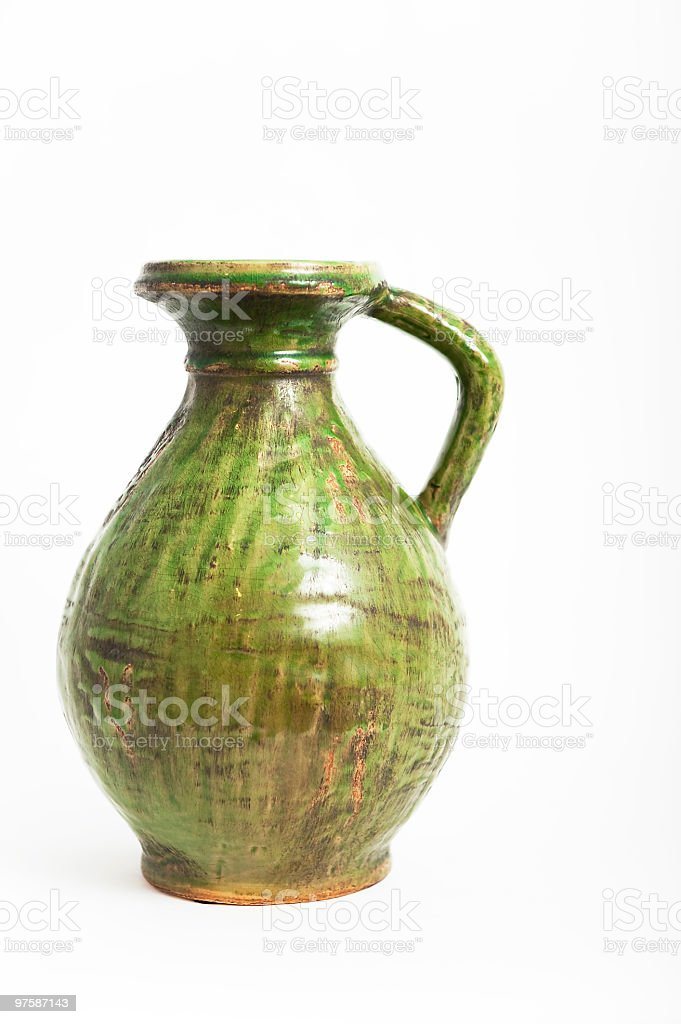 Green pot, pitcher, urn. royalty-free stock photo