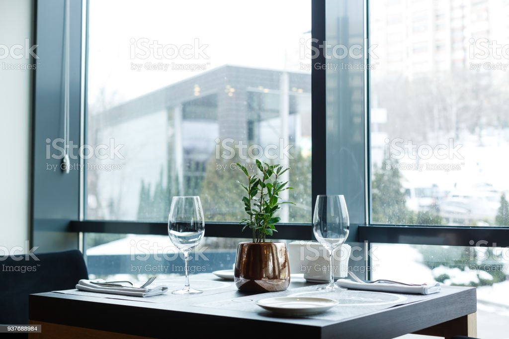 Green Potted Plant Tree In The Pot On Table Against The Window Tree In A Pot Standing On Glossy Black Table At Modern Apartment Stock Photo Download Image Now Istock