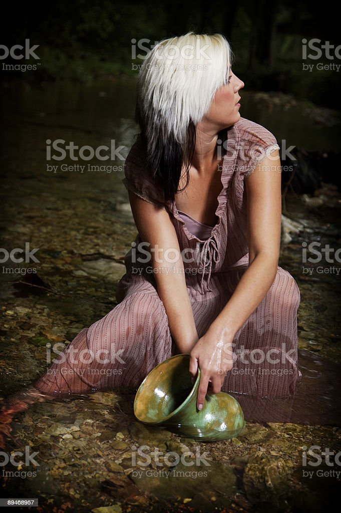 green pottery stream portraits royalty-free stock photo