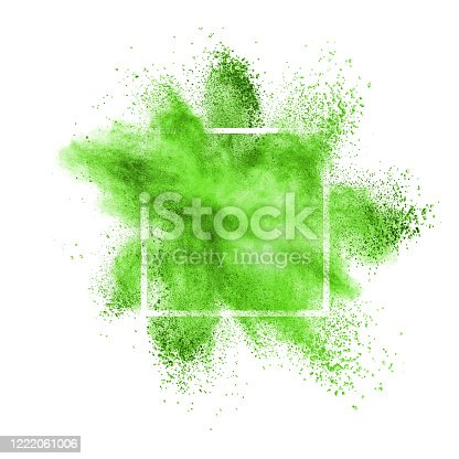 874001974 istock photo Green powder explosion in a frame on a white background. 1222061006